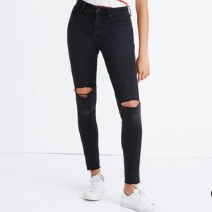 "Madewell | 10"" High Riser Skinny Busted Knee Jeans"